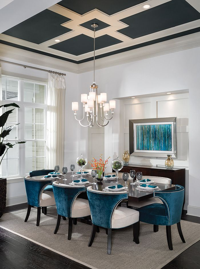 Using ceiling colors adds luxury to this custom home ceiling. Look at those details! See more- http://arhomes.us/turnberry1336
