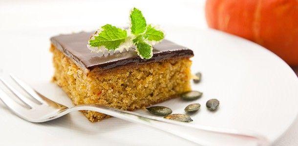 Kürbis Kuchen mit Kürbismarmelade und Schokoglasur Rezept Fressbox