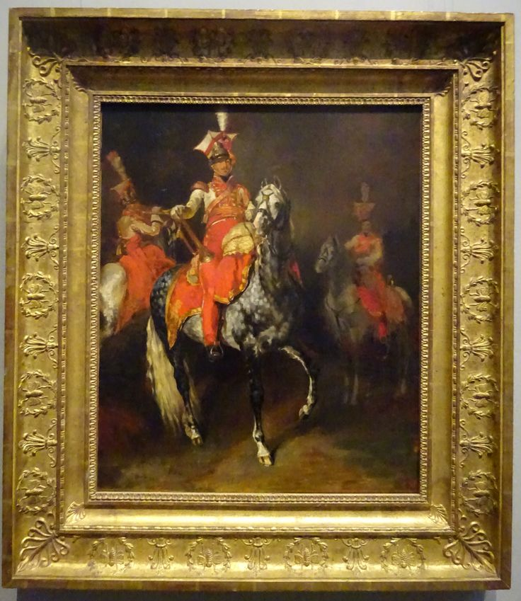 FRENCH IMPERIAL GUARD TRUMPETERS: A painting by Theodore Gericault in oil on canvas of the trumpters of the Napoleons Imperial Guard. The troopers are from the famous 1st Regiment Polish Chevau-Legers Lanciers. The painting was completed in France between 1813/14. It shows the regimental trupeters in full dress parade uniform with white tunic and rose colored facings. The painting is on display at the National Gallery of Art in Washington, D.C.