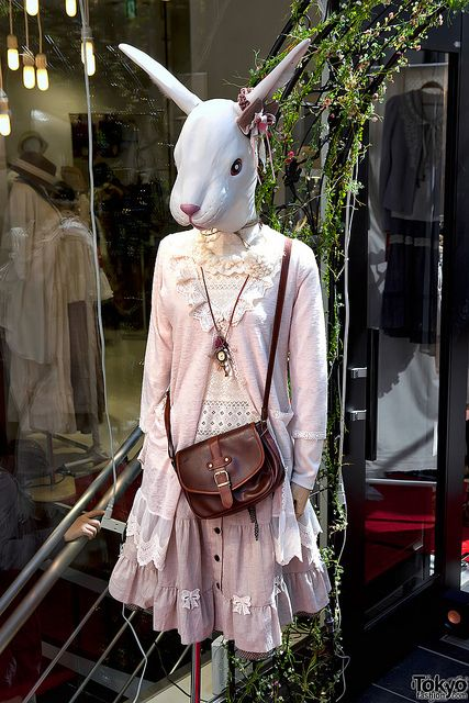 Mannequins & Dress Forms ~  bunny-mannequin  Rabbit-Headed Momo in Harajuku    A Mori Girl influenced outfit on a rabbit-headed mannequin outside of the Momo Wonder Rocket flagship store on Takeshita Dori in Harajuku in Spring of 2011.