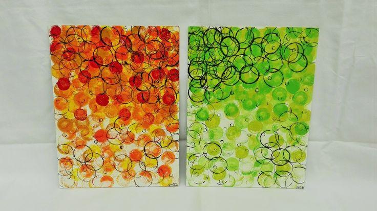 Dvojobraz N°1 (2x 30x40cm) / Zboží prodejce ProstěBižutka   Fler.cz Two picture, abstract painting and stamps of toilet rooler :D. Acryl stamps of rings. Dva obrazy, akrylová technika a otisk.