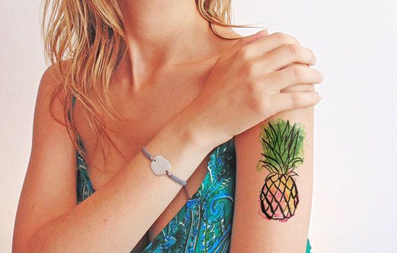 Pineapple watercolor  Temporary tattoo by TTTattoodotcom on Etsy