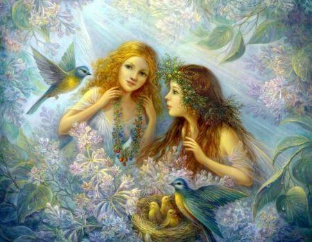 Fairy Garden - garden, flowers, fantasy, fairies, brids, nest