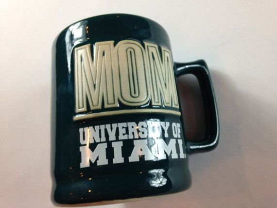 University of Miami Mom Coffee Mug Cup 3d Raised Letters Hurricanes Canes http://etsy.me/2mXySV9 #90s #vintage #marchmadness #tgif #etsy
