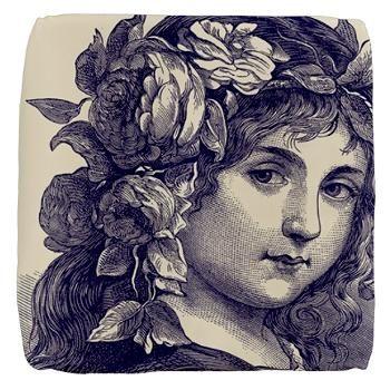 Exquisite Victorian Girl in Indigo Cube Ottoman