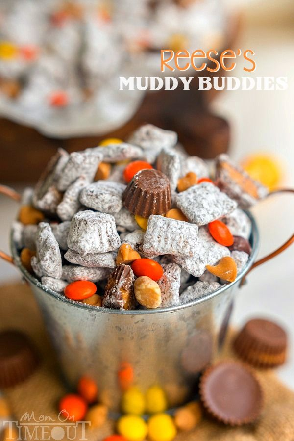 Reese's Muddy Buddies are taken to the next level in this amazingly delicious and easy dessert recipe! Reese's all the things! Reese's Pieces, Reese's Peanut Butter Chips, Reese's Minis, and Reese's Miniatures are all perfectly happy sharing space in this powdered sugar coated wonder land known as Muddy Buddies. | MomOnTimeout.com