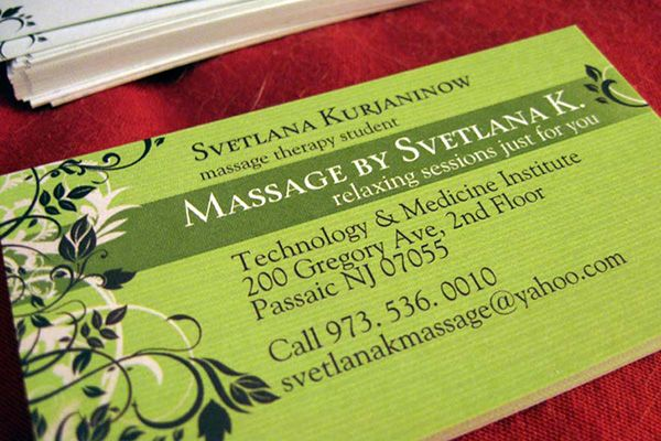 Great Green Massage Therapy Business Card Template Of Svetlana Kurjaninow