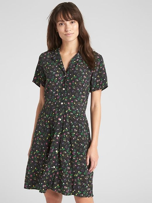 64d0cfd1344 Gap Womens Fit And Flare Button-Front Floral Print Dress Black Floral