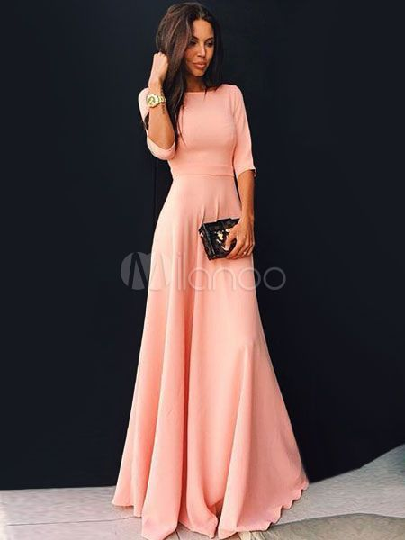 Pink Maxi Dress Long Prom Dress Long Sleeve Women Party Dress  047623ea84c