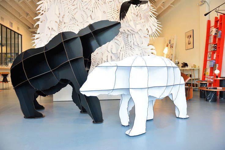 """Joe & Junior bear bookshelves Unique exhibition """"The design experience à la française"""" at L'Appartement concept store in Wynwood Miami - Design week 2016 #ibridedesign #ibride"""