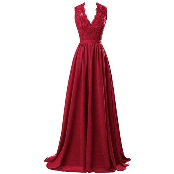 R&J Women's Modest V Neck Open Back Chiffon Long Evening Gown with... ($47) ❤ liked on Polyvore featuring dresses, gowns, lace, long dress, red, long red gown, red dress, red evening gowns, long gowns and lace gown