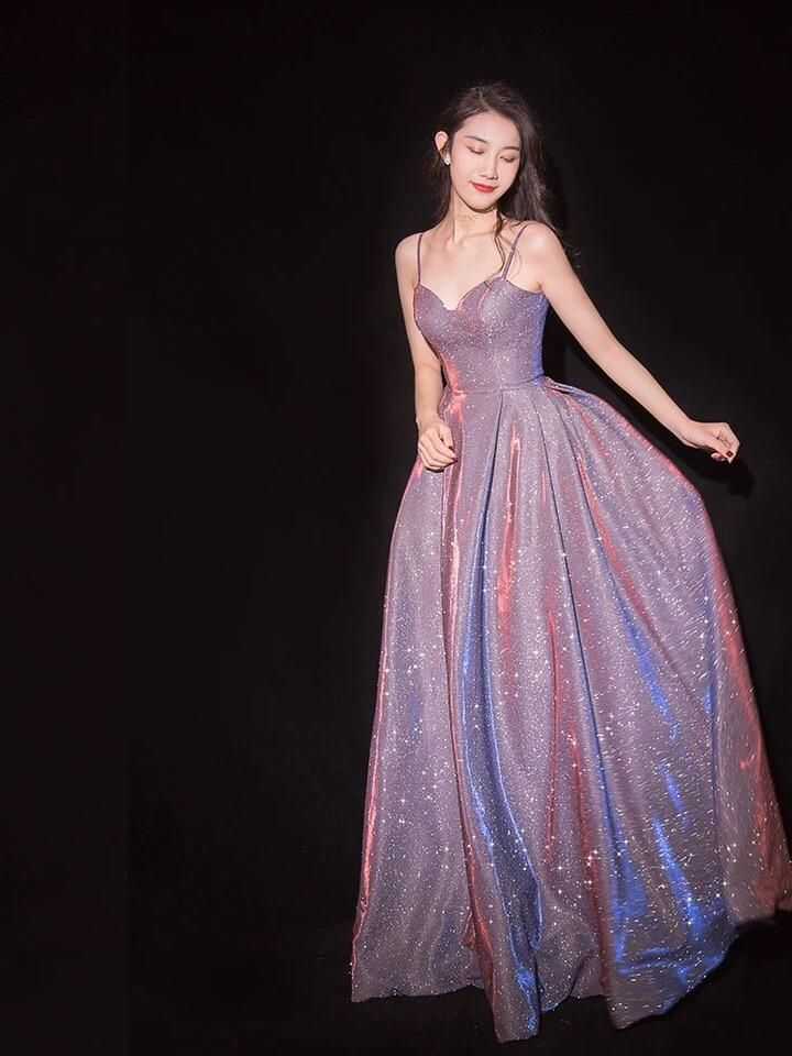 cbd519da39 Spaghetti straps sparkly mauve prom dress starry pink evening dress –  longformaldress