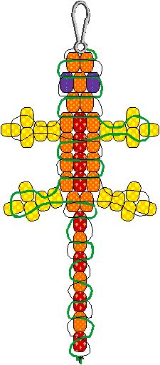Here's a diagram showing how to make a lizard out of pony beads. FYI-don't use Sgetti string as it isn't very flexible and doesn't allow the beads to dangle or lay flat. Use lanyard as yarn isn't very sturdy if kids want to hang this as a keychain. p_chemil.gif (8752 bytes)
