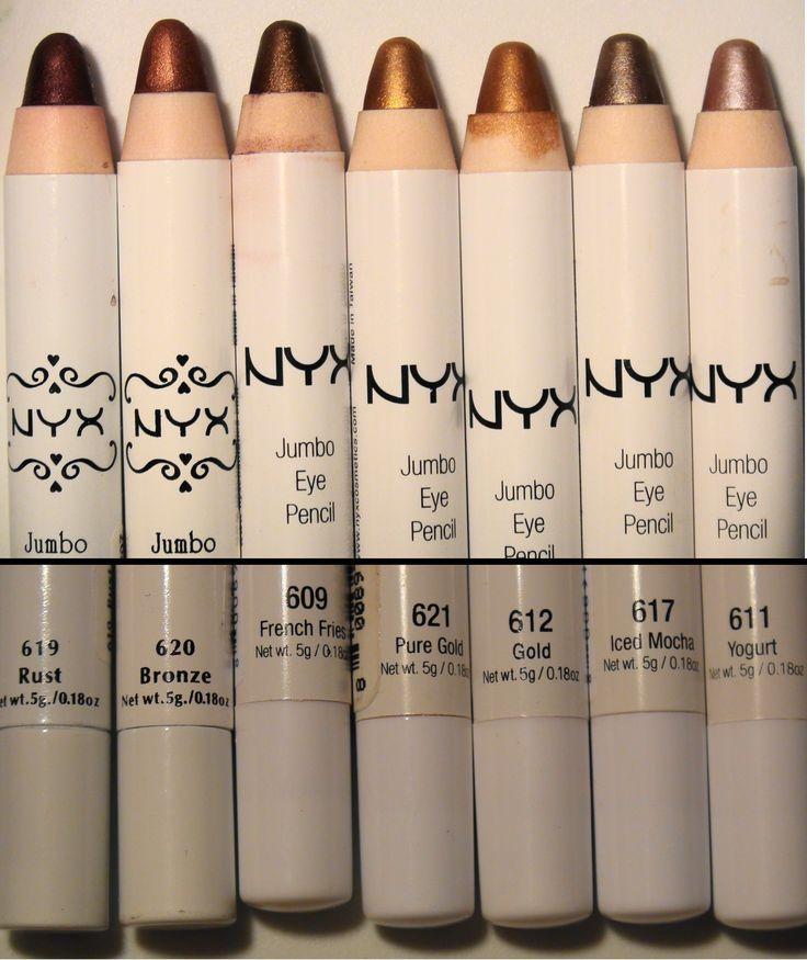 NYX jumbo eye pencils in metallic shades