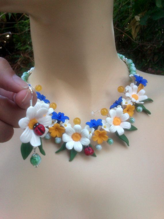 Daisy jewelry Polymer earrings and necklace Handmade by insou, $70.00