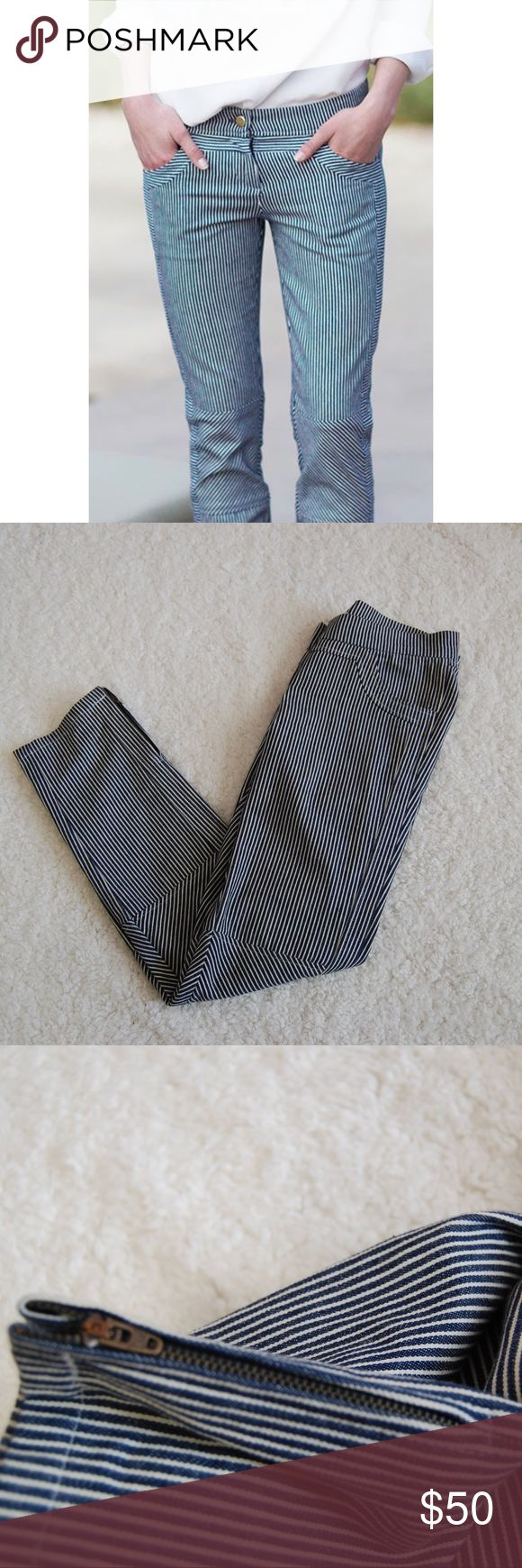 Emerson Fry Mick Pant Railroad Stripe Navy Blue 0 Perfect Condition. Size 0. Inseam: 28 inches. Rise: 8 inches. Emerson Fry Pants Skinny