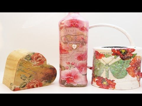 DIY 3 Decoupage Techniques Good for beginners or Intermediates! - YouTube