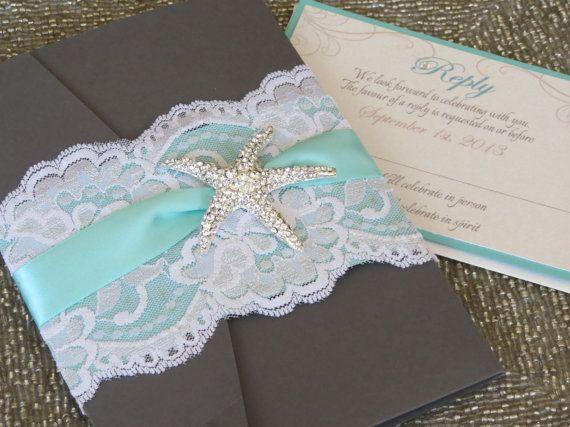 Sandy beach wedding invitation starfish wedding invitation