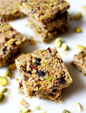 Cranberry Pistachio Breakfast Squares. Gluten free, dairy free and vegan. Recipe on www.thelittlegreenspoon.com