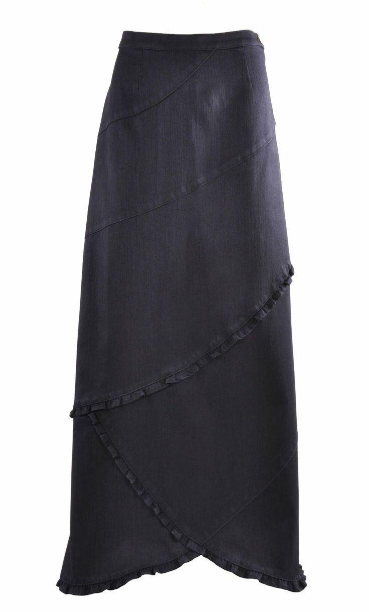 Royal Ruffles Long Denim Skirt