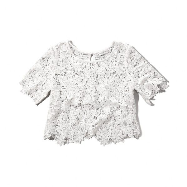 Abercrombie & Fitch Lace Crop Top featuring polyvore, fashion, clothing, tops, shirts, white, lace top, see through tops, white lace shirt, sheer lace shirt and lace shirt