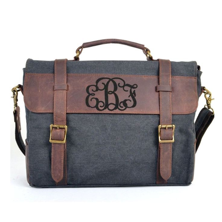 Individualized Carved Monogram Laptop Bag Messenger Canvas Crazy Horse Leather School   Bags