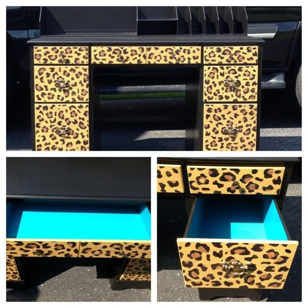 Desk I painted for Bree's first college apt! Cheetah turquoise desk