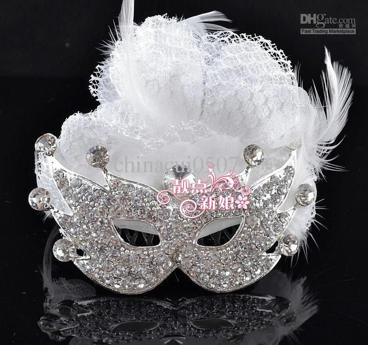 Cheap Masquerade Mask - Discount Christmas Masquerade Mask Bridal Feather Head Flowers Online with $11.36/Piece | DHgate