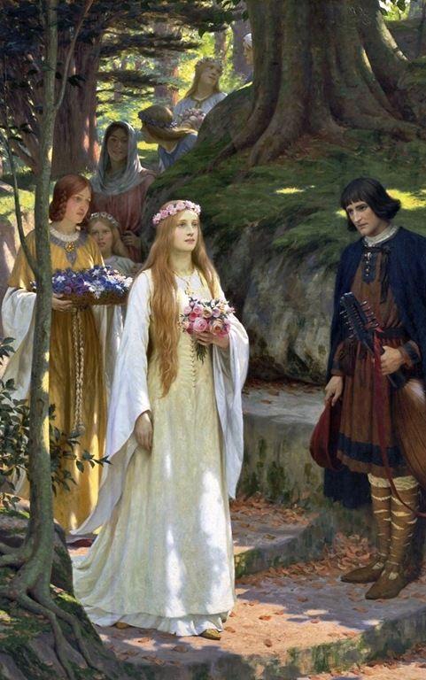 """Edmund Blair Leighton (Londres, Inglaterra, 21 de setembro de 1852- Londres, Inglaterra, 1 de setembro de 1922) - """"My Fair Lady"""""""