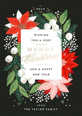 Make it metallic. Foil-pressed floral inspired Christmas Holiday Card design by Alethea and Ruth for Minted. Personalizable now on Minted.