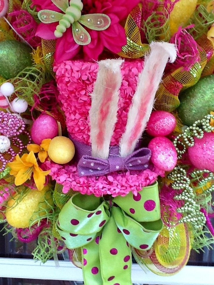 Easter Hat Deco mesh Wreath by WreathsEtc on Etsy