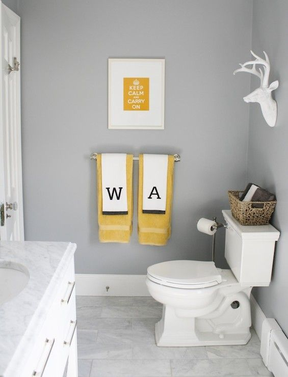 Simply Modern Home – bathrooms – Benjamin Moore – Marina Gray – gray walls, gray wall color, yellow and gray bathroom, yellow art, yellow keep calm and carry on art,