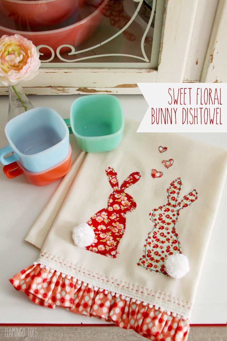 Sweet Floral Bunny Towel Sewing Tutorial @ Flamingo Toes