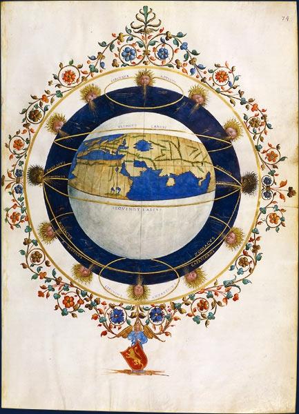 Le monde habité sur la sphère terrestre  Claude Ptolémée, Cosmographia.  Trad. latine de d'Angelo. Florence, vers 1465-1470. Manuscrit sur parchemin, 48 x 40 cm  BnF, Manuscrits, Latin 4801 fo 74  Le dessein de ce géographe mathématicien, à l'esprit vulgarisateur et systématique, est de fournir à tous les moyens de dresser une carte donnant une vue d'ensemble du monde habité connu. Le livre I de la Géographie définit donc les principes généraux de la géographie et une méthode pour…