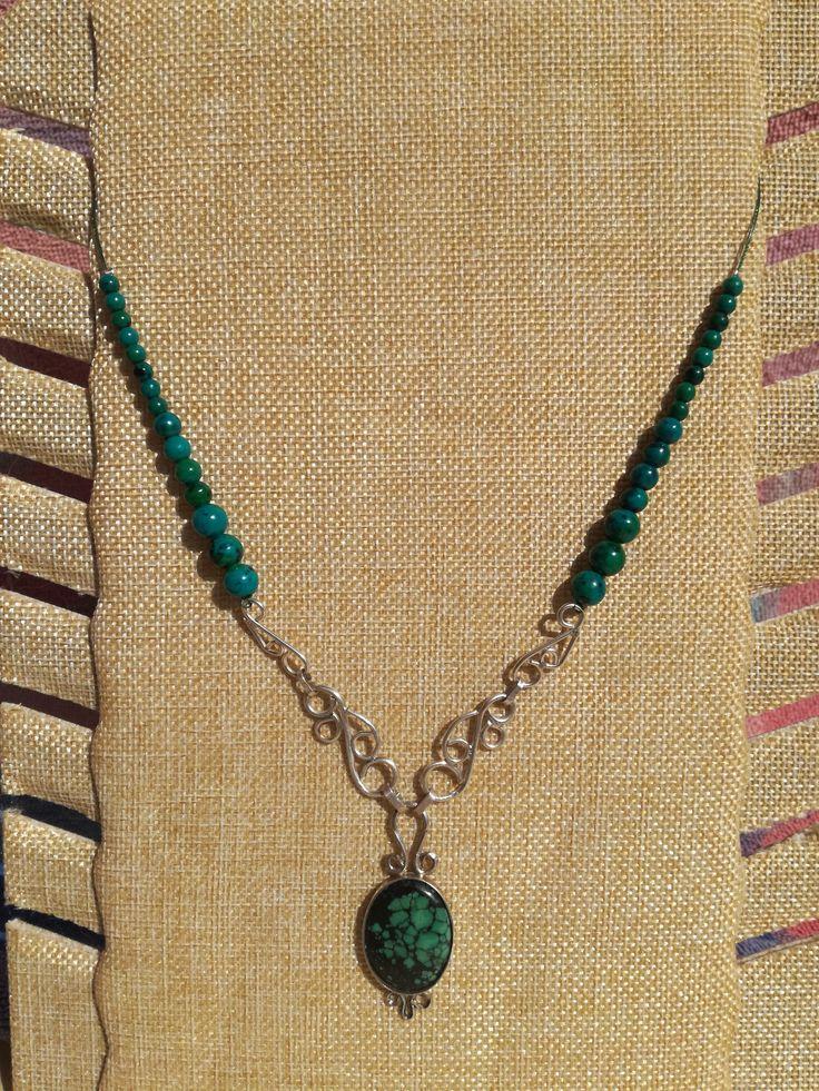Collar plata de turquesa tibetana