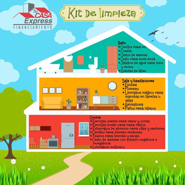 Kit de limpieza para cada área de tu hogar.