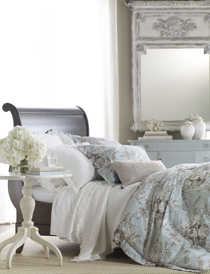 Beautiful Bedrooms, House Beautiful, Bedroom Bed, Master Bedroom, Ethan  Allen, Flipping, Floral Prints, Bedding, Tropical