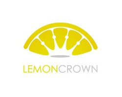 A half of lemon and a crown in the negative white space.