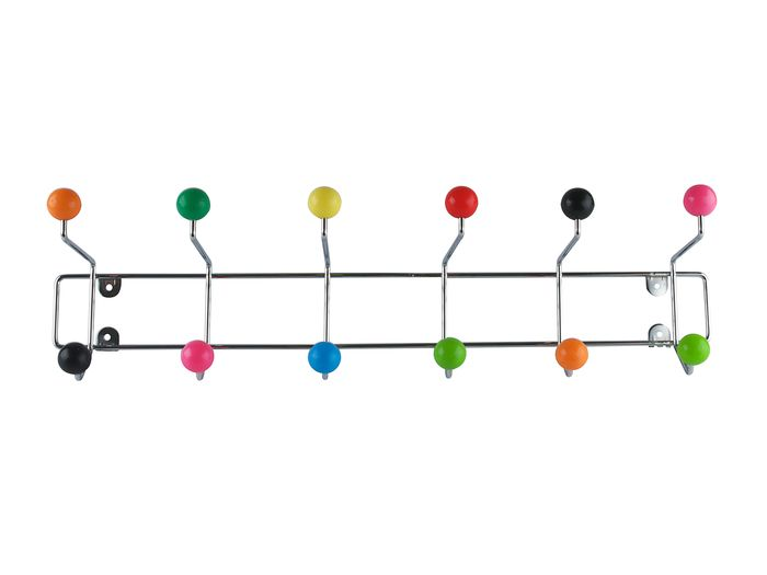 Multi coloured ball wall mounted hook