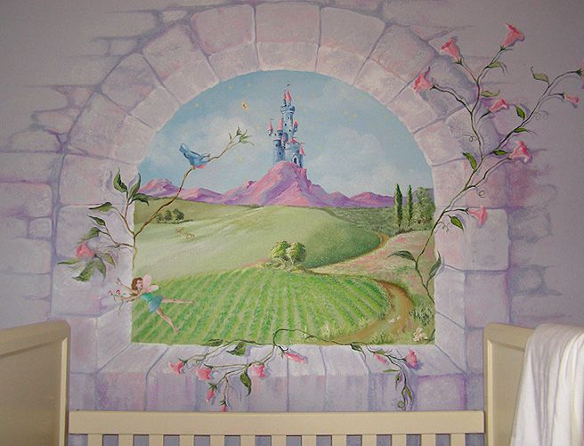 Best 25 castle mural ideas on pinterest princess mural for Fairy princess wall mural