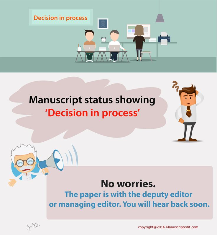 "#‎Manuscriptedit‬ @ What is the meaning of ""decision in process"" status?  Manuscript status showing 'Decision in process'; no worries. The ‪#‎paper‬ is with the deputy ‪#‎editor‬ or managing editor. You will hear back soon.  #Manuscriptedit ‪#‎post‬ : http://bit.ly/1NvtPEX"