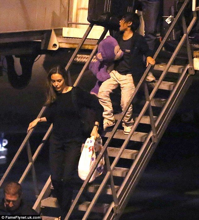 Angelina Jolie and son Pax touch down at LAX airport in Los Angeles following their New York trip
