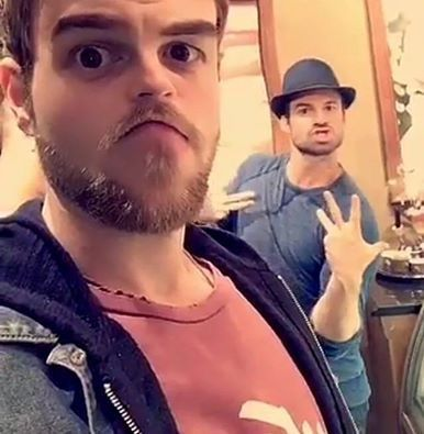 Daniel and Nate goofing off
