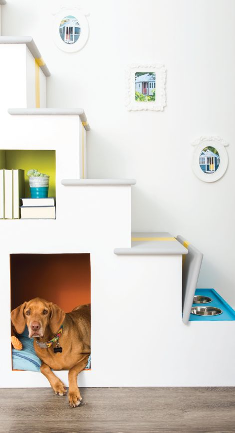 See how the color experts from Colorfully BEHR added some purpose and flair to a set of stairs in a tight space, including a pet bed, using BEHR paints.