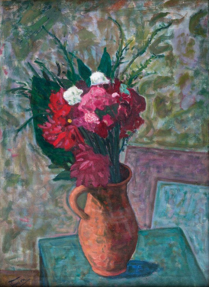 TYMON NIESIOŁOWSKI (1882 - 1965)  KWIATY W WAZONIE   olej, płótno / 67,5 x 48,5 cm w świetle oprawy  sygn. l.d.: Tymon