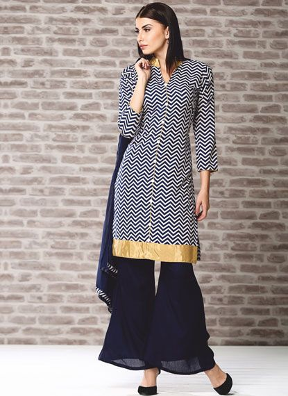 Jacket style printed kurti with button detail and contrast palazzo trouser.