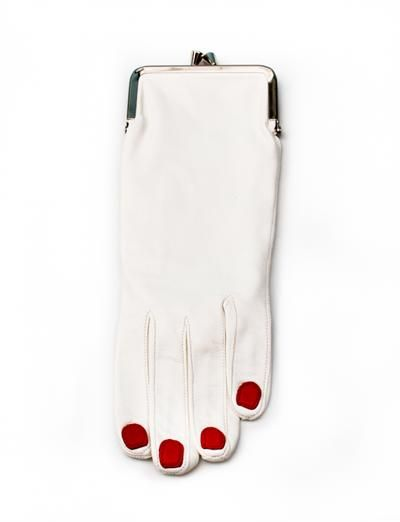 Creatures of Comfort Welcome Glove Coin Purse - White, blue striped silk lining, leather, $320.00, whimsical