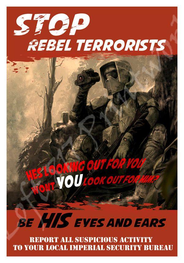 Star Wars inspired Propaganda art, Scout trooper art, Rebel propaganda poster