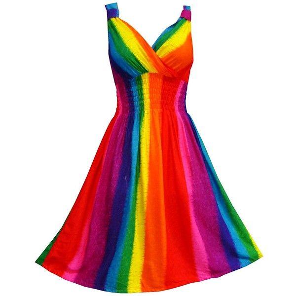 Pikulla V-Neck Sleeveless Women's Rainbow Gypsy Sundress Multicoloured... ($9.99) ❤ liked on Polyvore featuring dresses, rainbow sundress, white sleeveless dress, colorful dresses, sleeveless sundress and v-neck dresses