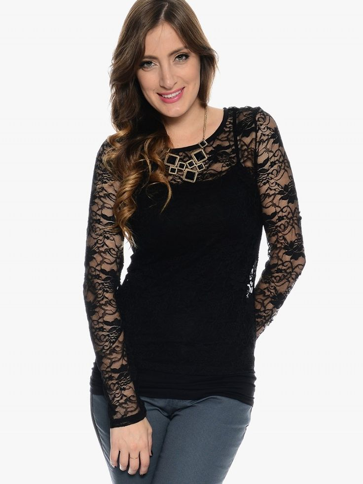 Tops Blouses Romance Long Sleeve Lace Blouse Black
